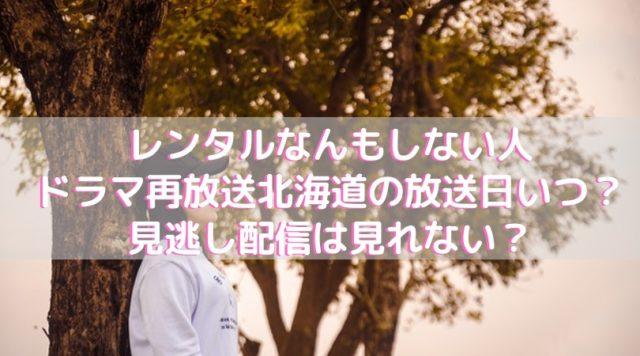レンタルなんもしない人ドラマ再放送北海道の放送日いつ?見逃し配信は見れない?